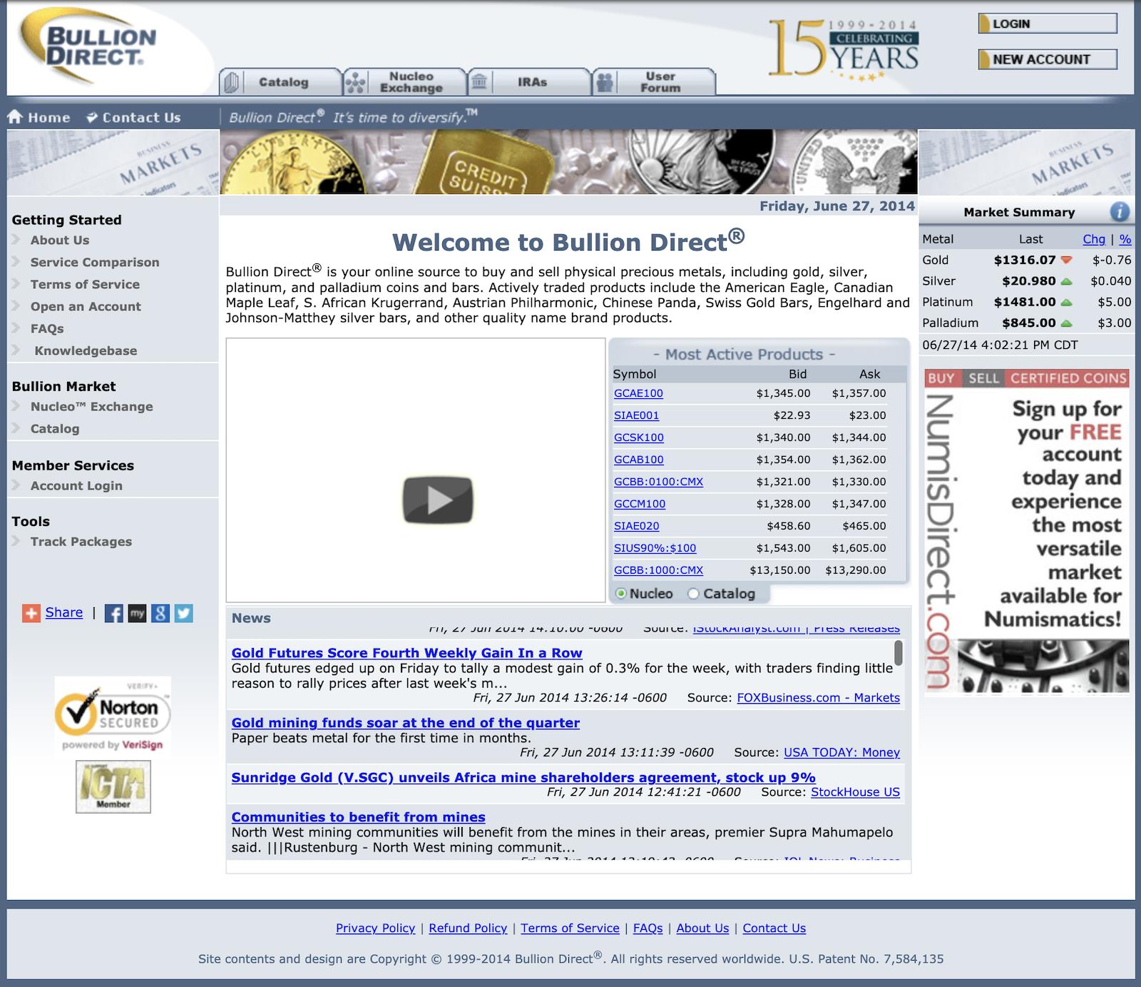 BullionDirect Website 2014