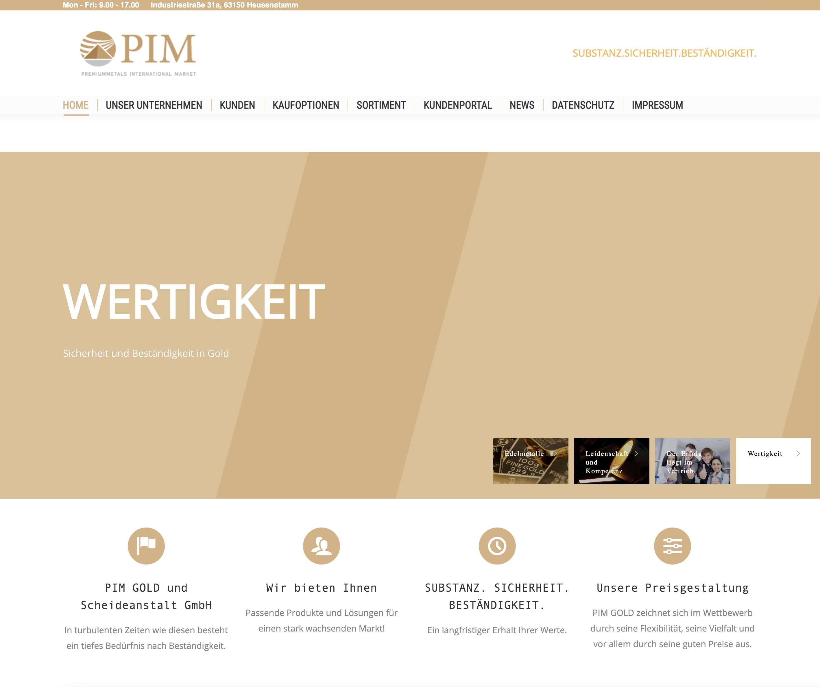 Screenshot Website PIM-Gold